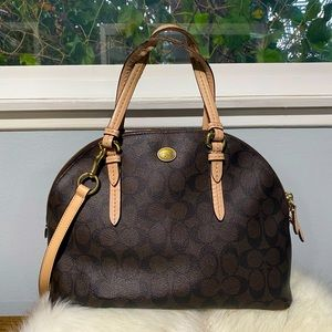 Coach all over print brown and tan satchel w/strap